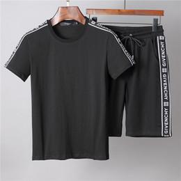 итальянские рубашки бренды Скидка Итальянский бренд одежды костюм мужской и женской хлопковой футболки и шорты молодежный летний комплект 2 шт.