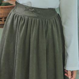 4d71cb8eba0 jupes vertes de l armée Promotion Mori Fille Printemps Automne Femmes  Longue Jupe Taille Haute