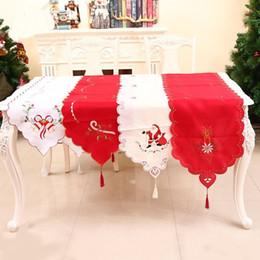 mesa de comedor paño estilo chino Rebajas Camino de mesa navideño 40 * 170 cm Papá Noel bordado mantel mantel de fiesta de boda de Navidad 2 piezas ePacket