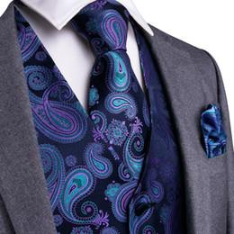 2019 chalecos de seda Púrpura Negro Paisley Top Design Hombres de boda 100% Chaleco de seda Chaleco Corbatas Hanky Gemelos Conjunto de corbata para traje de esmoquin MJTZ-104 chalecos de seda baratos