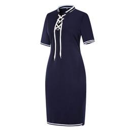 Плюс размер рубашки поло женщин онлайн-Мода-женщины плюс размер с короткими рукавами футболки поло топ полосой Bodycon Midi платье карандаша Y190425