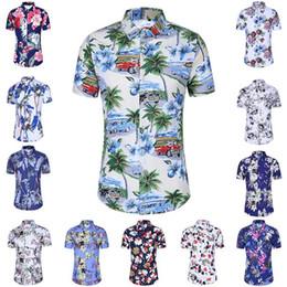 Mens Floral Printing Ice Silk Cotton Fashion Casual Summer Plus Size Hawaiian Beach Shirts
