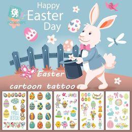 2019 re dell'autoadesivo all'ingrosso Bambini Pasqua Tattoo Party Photo Booth Autoadesivo del tatuaggio del fumetto Decorazioni per feste Bambini Baby Shower Eenhoorn Party Supply 12 Styles