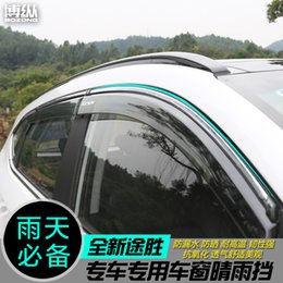 2019 soleiras de porta peugeot Chuva ensolarada janela modificada especial tempo sobrancelha chuva para Hyundai Tucson 2015 2016 2017 2018 Car-covers Car-styling 4 pçs / set