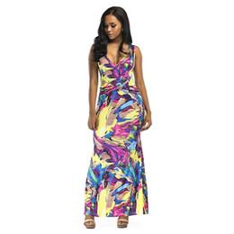 db7b81dfd60 Mujeres sexy Graffiti Maxi Vestido Contraste Color Block V Cuello sin mangas  Summer Beach Vestido largo Slim Fit Elegante Sundress 2019