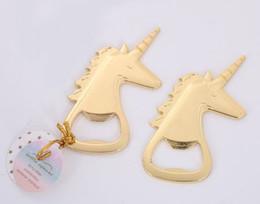(10 peças / lote) casamento e dom celebração do partido de ouro Unicorn abridor de garrafas para chuveiros nupciais e favores do casamento de