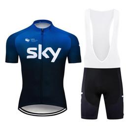 2019 jersey di ciclismo del cielo xs 2019 SKY Cycling Jersey set bavaglino manica corta pantaloni posteriore Quick Dry traspirante Abbigliamento da ciclismo GEL PAD taglia XS-6XL jersey di ciclismo del cielo xs economici