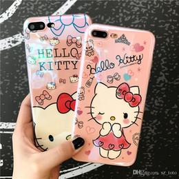 Cassa del fumetto del gattino di iphone online-Mytoto Blu-ray Cute Cartoon Hello Kitty Cat Soft TPU per iPhone 6 6s 7 8 Plus Fancy Artistic Cover posteriore per iphone 7