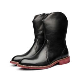 2019 botas meias de meia calça zip Homens Mid Bezerro Feito À Mão Plus Size Outono Inverno Mens Botas De Couro Genuíno Mens 2018 Dedo Do Pé Redondo Quente Botas de Motocicleta LMX-B0014 botas meias de meia calça zip barato
