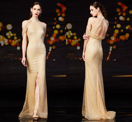 Argentina Custom Made Front Slit Champagne Vestidos de noche Robe Longue Lujo Crystal Sexy sirena Vestidos de baile Cuello alto Vestidos De Gala cheap evening dress front slit Suministro