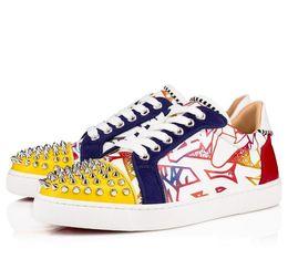 Canada Mode Célèbre Bas Bas Seavaste Spikes Junior Graffiti En Cuir Verni Avec Des Pointes rouge bas formateur pas cher chaussures de sport cheap cheap spiked shoes Offre