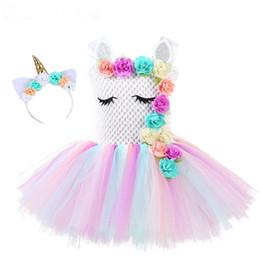 Цветок девушки Единорог пачка платье пастель Радуга Принцесса девушки День Рождения платье дети дети Хэллоуин костюм единорога 1-14Y от