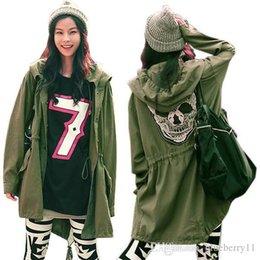 Cráneo chaqueta verde online-New Autumn Women Outwear Parka Button Skull Green chaqueta de abrigo con capucha
