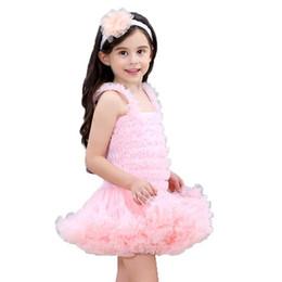 Le ragazze increspano l'abito della bolla online-Ragazze Tutu Dress Baby Children Fashion Fluffy Party Dresses Girl Ball Gown Ruffled Bubble vestito di un pezzo Balletto Dance Princess Abbigliamento