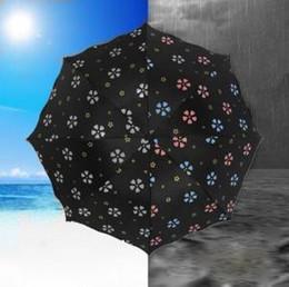 changement de vitesse Promotion Fleurs Motif Changement De Couleur Parapluie Trois Plis Magique Coupe-Vent Anti-UV Soleil Pluie Princesse Parapluie Pluie Vitesse OOA6148