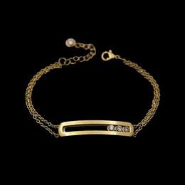 Canada Top qualité complète avec CZ diamant en acier inoxydable smart trois pierre charme bracelet cuivre fine chaîne rose or couleur amour braceletsbang Offre