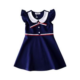 2019 battesimo bambino avorio Nuovi bambini 2-8 anni ragazza bambino vestito carino ragazze piccole maniche volanti maglia gonna abito da college vento