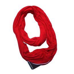 Canada Femmes 135-175cm 4 Couleurs Stretchy Infinity Echarpe Avec Secret Caché Zipper Poche Polyester Hiver Chaud Châle W77 Offre