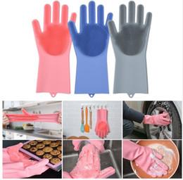 Acessórios de lavagem de carro on-line-Luvas De Lavar Louça de Silicone magia Acessórios de Cozinha Lava-louça Luvas Domésticas Ferramentas para a Limpeza Do Carro Escova de Animais de Estimação