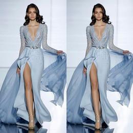 2019 nouvelle voir à travers sexy robes de soirée sirène Zuhair Murad avec manches longues formelle robe de bal Cristaux bleu haute Split robes de célébrités ? partir de fabricateur