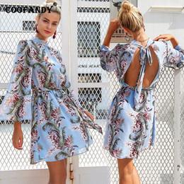 afe15fee65c abercrombie et fitch Promotion Femmes élégante robe florale manches évasées  imprimer taille haute dos ouvert en