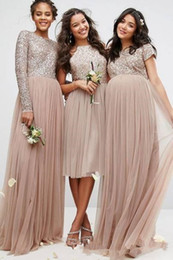 prom dress sequin appliques sleeve long Coupons - Vintage Blush Champagne Sequins Bridesmaid Dresses Long Sleeve Tulle Cheap Plus Size Country Pleated Formal Prom Dress For Pregnant