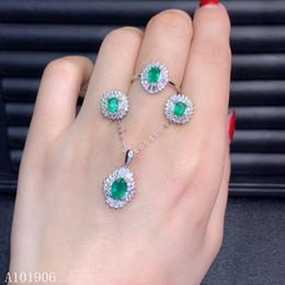 smaragd halskette ohrring ring-sets Rabatt KJJEAXCMY Fine Jewelry 925 Sterling Silber eingelegten natürlichen Smaragd weiblichen Ring Halskette Anhänger Ohrringe Set Unterstützung Bewertung neue l