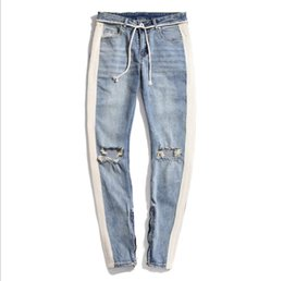8ff61bf44 feet jeans free Promo Codes - Men s Vintage Jeans Stitching White Striped  Knees Large Holes Slim