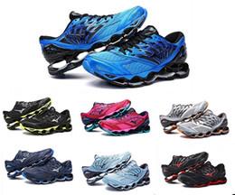 2019 venda de botas de futebol frete grátis Mizuno Onda Profecia 8 Tênis de corrida Buffer moda Das Mulheres Dos Homens Originais de Alta Qualidade Esporte Tênis Cinza violeta Tamanho 36-45