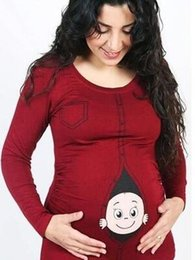 Argentina Mujeres maternidad manga corta carta de dibujos animados imprimir tops embarazo ropa ropa maternidad maternidad blusa tops sueltos Suministro