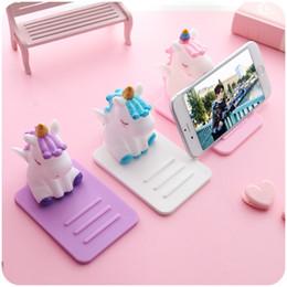 soporte de tableta de tarjeta de plástico Rebajas Kawaii Cartoon Unicorn Lazy Phone Holder Soporte Soporte Tablet Soporte de escritorio para iPhone Samsung Huawei Ajustable
