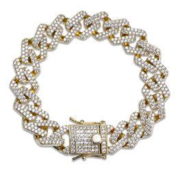 2019 gold-diamant-tennis-armbänder 14mm 6/7/8/9 / 10inch Straight Edge Diamonds kubanische Gliederkette Armband Gold Silber Iced Out Zirkonia Hiphop Männer Schmuck rabatt gold-diamant-tennis-armbänder