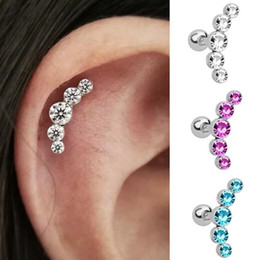 helix piercing jewelry Coupons - 1PC Crystal Gem Ear Tragus Rings Stainless Steel Bar Ear Piercing Cartilage Helix Piercing Women Men Body Jewelry