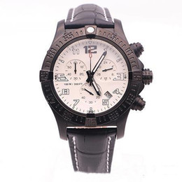 square men white watch Promo Codes - hot sale jason007 high watches men white and black dial black leather belt watch avenger seawolf chronograph quartz watch mens watche