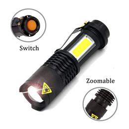 Linterna LED portátil Q5 + COB Mini Negro 2000LM Zoom a prueba de agua LED Antorcha linterna Utilice AA 14500 Iluminación de batería desde fabricantes