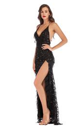 Взрывное платье с блестками сексуальная длинная юбка бахромой высокой вилкой без бретелек платье без спинки нерегулярные юбки вышивка шить от
