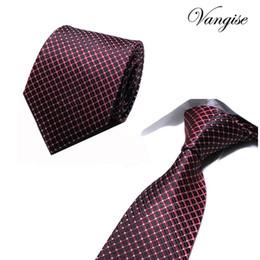 Corbatas rojas a cuadros para hombres online-Marca corbata hombres corbatas diseñadores moda Dot Striped Plaid corbata roja de la boda de negocios delgado 8 cm flaco corbata para los hombres cravate