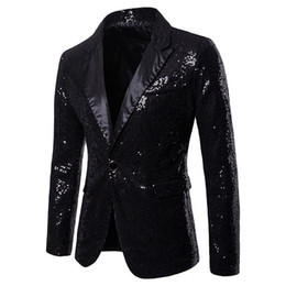 mens shiny suits jackets Promo Codes - 2019 Mens Shiny Blazers Jackets Sequin Glitter suit Jacket Men Nightclub DJ Stage Singer suit Coats Wedding Party Overcoat