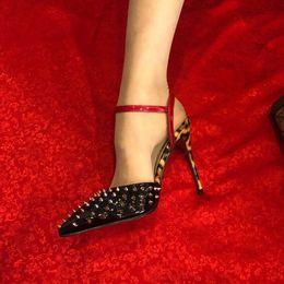 Sandales femme léopard en Ligne-Livraison gratuite Mode femmes pompes lady peep Black léopard en cuir verni pointes chaussures à talons hauts chaussures de soirée sexy sandales en cuir véritable