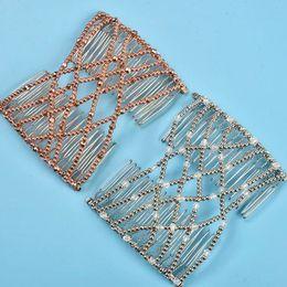 Fabricante de la venda online-Belleza elástico peine del pelo mágico diy venda de la vendimia de moda fabricante de pelo bollo peines de metal horquillas de metal para las mujeres