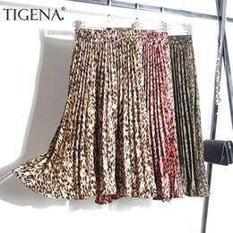 Tigena impresso leopard mulheres moda outono inverno cintura alta plissada midi saias longas feminino coreano saia senhoras q190508 de