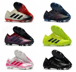 Bottes messi pas cher en Ligne-2019 chaussures de football pour hommes Nemeziz Messi 18.1 FG football Crampons pas cher Nemeziz 18 chaussures de football en plein air Tacos de futbol