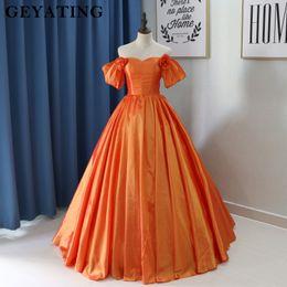 corset de robe de bal en taffetas Promotion Robe de bal orange en taffetas Robe de bal Longue épaule Robe de soirée Robes de soirée Corset Dos Avec Fleurs Femmes Robes