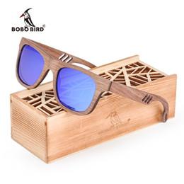 Billige hölzerne sonnenbrille männer online-Günstige Sonnenbrillen für Männer BOBO BIRD Holz-Frauen-Sonnenbrille Männer oculos de sol feminino Sun-Gläser in Holzbox lentes de sol