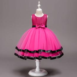 2019 vestidos de rosa vermelha para crianças Vestidos das meninas bonitos do flor Vestidos das meninas vermelhas do casamento Vestidos das ocasiões especiais Vestidos Trajes vermelhos da saia dos miúdos vestidos de rosa vermelha para crianças barato