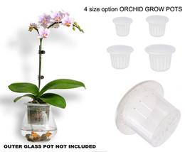 """Piantagioni per orchidee online-Tazza da vaso netto in plastica trasparente con intaglio traspirante all'ingrosso, vaso interno con irrigazione automatica in qualsiasi vaso di vetro adatto 3 """"/ 4"""""""