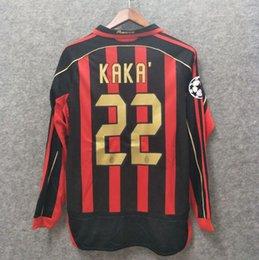 2019 kaka milan Clásico 2006 2007 Retro milan Soccer Jersey manga larga Kaka Inzaghi Gattuso Ronaldo Pirlo Seedorf Vintage camiseta de fútbol UCL