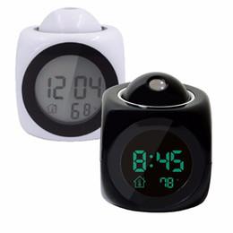 relógios de mesa de cerâmica Desconto Moda LCD Projeção LED Display Tempo Despertador Digital Falando Voz Prompt Termômetro Função Snooze Desktop Decor