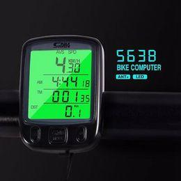 Rétro-éclairage de l'ordinateur en Ligne-563B Affichage LCD Étanche Vélo Ordinateur De Vélo Compteur De Vitesse Compteur De Vitesse Vélo Avec Rétroéclairage LCD Vert ZZA616 60pcs