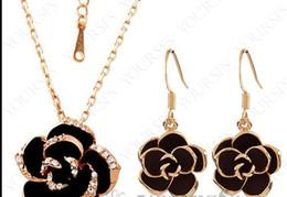 2020 schwarzer rosafarbener blumenanhänger Rose Gold überzogene Verwendung Crystal NecklaceEarring Gemstones JewelryFlash Black Flower Pendant Necklace günstig schwarzer rosafarbener blumenanhänger